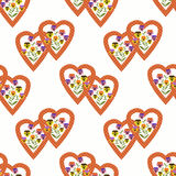 Floral seamless pattern , cute cartoon  flowers white background Stock Photography