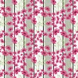 Floral seamless pattern, cute cartoon flowers white background Stock Photos
