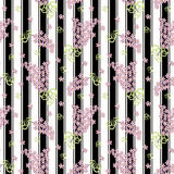 Floral seamless pattern , cute cartoon  flowers white background. Stock Photo