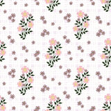 Floral seamless pattern, cute cartoon flowers white background in specks. Floral seamless pattern in retro style, cute cartoon flowers white background in specks vector illustration