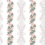 Floral seamless pattern, cute cartoon flowers white background striped. Floral seamless pattern in retro style, cute cartoon flowers white background striped Royalty Free Stock Image