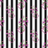 Floral seamless pattern, cute cartoon flowers white  background striped Royalty Free Stock Photography