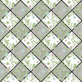 Floral seamless pattern, cute cartoon flowers white and gray squares in a checkerboard pattern background striped Stock Photo