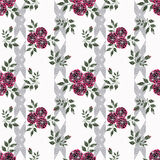 Floral seamless pattern, cute cartoon flowers  white stripe  background Royalty Free Stock Photo