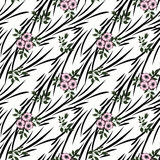 Floral seamless pattern, cute cartoon flowers  white stripe  background Royalty Free Stock Photos