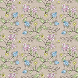 Floral seamless pattern, cute cartoon pink flowers beige background Royalty Free Stock Photography