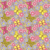 Floral seamless pattern, cute cartoon pink flowers light  background Royalty Free Stock Photography