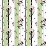 Floral seamless pattern, cute cartoon  pink flowers white background. Floral seamless pattern in retro style, cute cartoon   pink flowers white background green Royalty Free Stock Image