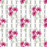 Floral seamless pattern, cute cartoon pink flowers white black background striped Stock Photography