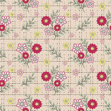 Floral seamless pattern, cute cartoon  red flowers beige background Stock Images