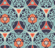 Floral seamless pattern. Cute doodle style flowers rosettes in seamless pattern Royalty Free Stock Photography