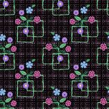 Floral seamless pattern, cute  flowers black background with decorative elements. Royalty Free Stock Image