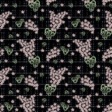 Floral seamless pattern, cute  flowers black background with decorative elements. Royalty Free Stock Photos