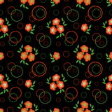 Floral seamless pattern, cute  flowers black background with decorative elements. Stock Photos