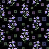 Floral seamless pattern, cute  flowers black background with decorative elements. Royalty Free Stock Photography