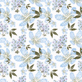 Floral seamless pattern , cute flowers white background. For printing on fabric and paper Stock Images