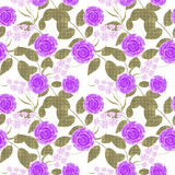 Floral seamless pattern , cute flowers white background Royalty Free Stock Photography