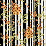 Floral seamless pattern , cute  orange cartoon flowers white background stripes. Stock Image