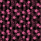 Floral seamless pattern , cute pink   flowers black stripe background. Floral seamless pattern in retro style, cute pink  flowers black stripe background Royalty Free Stock Photo