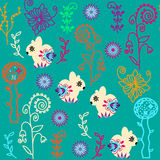 Floral seamless pattern with cute rabbits and seamless pattern i Stock Photo