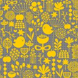 Floral seamless pattern with cute small birds. Stock Photos