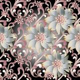 Floral seamless pattern. 3d flowers. Floral seamless pattern. Vintage black modern background wallpaper illustration with white abstract 3d flowers, pink scroll Royalty Free Stock Photography
