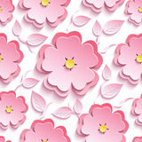 Floral seamless pattern with 3d sakura and leaves. Trendy background seamless pattern with pink 3d flower sakura - japanese cherry tree, branch and leaf cutting Stock Image