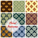 Floral seamless pattern of damask flower ornament. Floral seamless pattern background set. Damask floral ornament of victorian flourishes with ornate flower and Stock Images