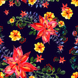 Floral seamless pattern. Dark background. texture with leaves. Flourish tiled wallpaper Royalty Free Stock Photography