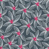Floral seamless pattern on dark background. Royalty Free Stock Image