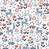 Floral seamless pattern with deers Stock Image