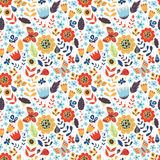 Floral seamless pattern with doodle flowers Royalty Free Stock Photos