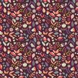 Floral seamless pattern with doodle flowers and leaves. Stock Image