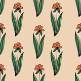 Floral seamless pattern with doodle orange flowers with green leaves on beige background. Stock Images