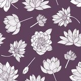 Floral seamless pattern with elegant blooming lotus hand drawn with contour lines on purple background. Backdrop with Stock Illustration