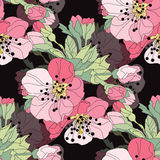 Floral seamless pattern. Elegant seamless pattern with hand drawn decorative cherry blossom flowers, design elements. Floral pattern for wedding invitations Royalty Free Stock Images