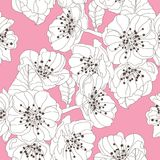 Floral seamless pattern. Elegant seamless pattern with hand drawn decorative cherry blossom flowers, design elements. Floral pattern for wedding invitations Stock Photo