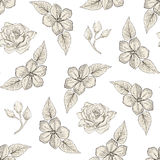 Floral seamless pattern engraving style Royalty Free Stock Image