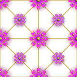 Floral seamless pattern for fabrics, textiles, wallpaper, paper. Vector. Violet flowers on golden greed. Stock Photos