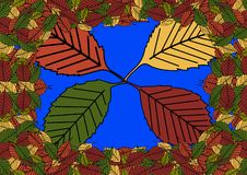 Floral seamless pattern with fallen leaves. Autumn. Leaf fall. Colorful artistic background. Vector illustration royalty free illustration