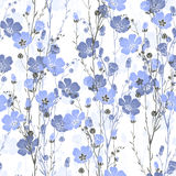 Floral seamless pattern of flax plant with flowers and buds. Stock Images