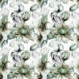 Floral seamless pattern. Watercolor illustration Stock Photo