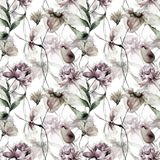 Floral seamless pattern. Watercolor illustration Royalty Free Stock Image
