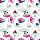 Floral seamless pattern. Watercolor illustration Royalty Free Stock Images