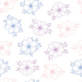 Floral seamless pattern of flower anemone. In colors of 2016, Flower seamless pattern for card, mothers day, wedding, birthday, textile, web, wallpaper Stock Images