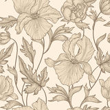 Floral seamless pattern. Flower background. Floral ornamental engraving with iris flowers. Spring flourish garden. Floral seamless etching pattern. Flower royalty free illustration