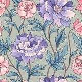 Floral seamless pattern. Flower background. Flourish garden text Royalty Free Stock Photography