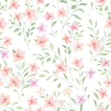 Floral seamless pattern.  Flowers and leaves garden background Royalty Free Stock Image