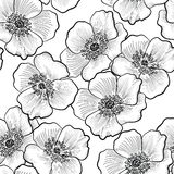 Floral seamless pattern. Flower background. Flourish sketch blac Stock Image