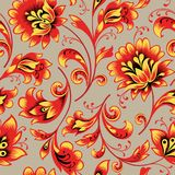 Floral seamless pattern. Flower background. Ornamental russian ethnic style. Floral seamless pattern. Flower silhouette ornament. Ornamental flourish background stock illustration